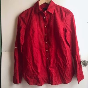 TALBOTS PETITE Red Long Sleeve Pleated Button Down